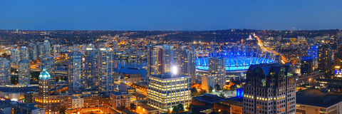 Vancouver rooftop view. With urban architectures at dusk Stock Images