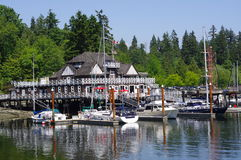 Vancouver rowing club. In the water along the south side of Stanley Park, Vancouver, British Columbia, Canada stock photos