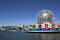 Vancouver's False Creek. Looking from the east side of False Creek toward Science World and the football stadium Stock Images