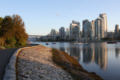 Vancouver's False Creek Seawall View Royalty Free Stock Photography