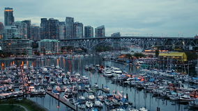 Vancouver`s harbour and skyline, Canada stock video footage