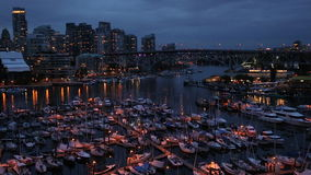 Vancouver`s harbour and skyline at night, Canada. Vancouver harbour & skyline, Vancouver, Canada stock video footage