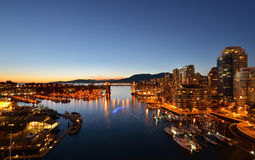 Vancouver's historic Burrard Bridge at night Stock Images