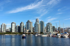 Vancouver's Inner Harbour. Looking north across False Creek to downtown Vancouver Stock Photo