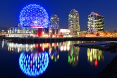 Vancouver Science World, BC, Canada. Vancouver Science World at night, Vancouver, British Columbia, Canada. This building was designed for EXPO 86 stock images
