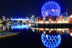 Vancouver Science World, BC, Canada. Vancouver Science World at night, Vancouver, British Columbia, Canada. This building was designed for EXPO 86 royalty free stock photography
