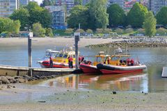 Vancouver Search and Rescue Team Members. Gather at the shores of Vancouver, Canada`s English Bay during drill practices on May 11, 2018 Royalty Free Stock Images