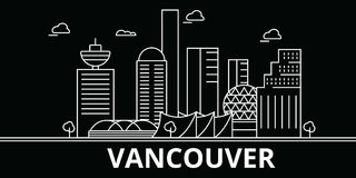 Vancouver silhouette skyline. Canada - Vancouver vector city, canadian linear architecture, buildings. Vancouver travel Stock Photo