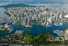 Vancouver from the sky. Downtown Vancouver residential area seen from the sky