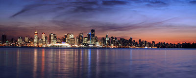 Vancouver sky line at night panorama Royalty Free Stock Images