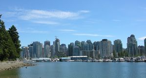 Vancouver Skyline. The skyline of Vancouver from Stanley Park Stock Photo