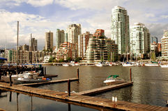 Vancouver skyline. As seen frmo Granville Island stock photography