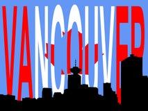 Vancouver skyline. Against canadian flag illustration Royalty Free Stock Image