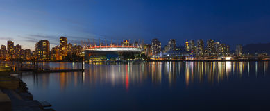 Vancouver Skyline. A panorama of the vancouver skyline from False Creek Stock Photo