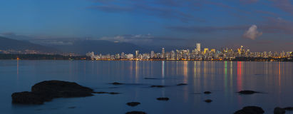 Vancouver Skyline. A panorama of Vancouver in the evening Royalty Free Stock Images