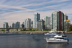 Vancouver Skyline. View on downtown Vancouver from False Creek royalty free stock image
