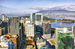 Vancouver Skyline, aerial view, British Columbia Royalty Free Stock Photos