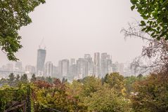 Vancouver skyline during the BC Wildfires stock photo