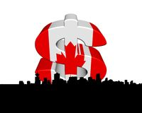 Vancouver skyline with Canadian flag. Dollar symbol illustration Stock Images