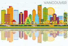 Vancouver Skyline with Color Buildings, Blue Sky and Reflections. Vector Illustration. Business Travel and Tourism Concept with Modern Architecture. Image for Royalty Free Illustration