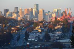 Vancouver Skyline Dawn Stock Photo