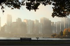 Vancouver Skyline, Foggy Autumn Morning Stock Photo