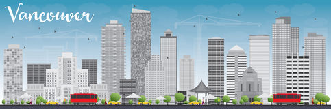 Vancouver skyline with grey buildings and blue sky. Vector illustration. Business travel and tourism concept with modern buildings. Image for presentation Stock Images