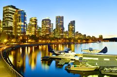 Vancouver skyline with harbor in Canada royalty free stock photos
