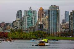 Vancouver Skyline looking across False Creek. Royalty Free Stock Photo