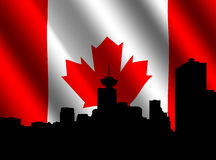 Vancouver-Skyline mit Markierungsfahne Stockbild