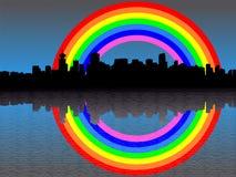 Vancouver-Skyline mit Regenbogen Lizenzfreies Stockbild
