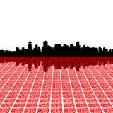 Vancouver-Skyline mit Text Lizenzfreie Stockfotografie