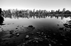 Vancouver skyline near Stanley Park and marina, black and white Stock Photo