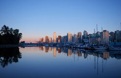 Vancouver skyline near Stanley Park and marina Stock Images