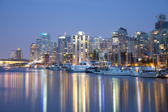 Vancouver skyline at night Stock Photography