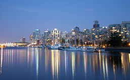 Vancouver skyline at night Stock Photos