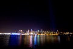 Vancouver skyline at night with colorful reflections Royalty Free Stock Photos