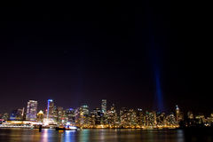 Vancouver skyline at night with light show Royalty Free Stock Image