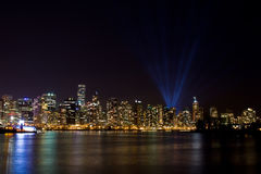Vancouver skyline at night with light show Stock Images