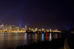 Vancouver skyline at night with light show Stock Photos