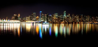 Vancouver Skyline at Night Stock Image