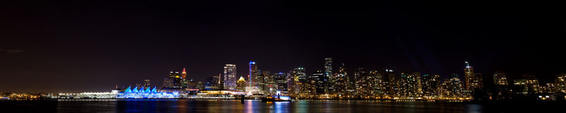 Vancouver skyline panorama at night Stock Photography