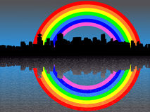 Vancouver skyline with rainbow Royalty Free Stock Image