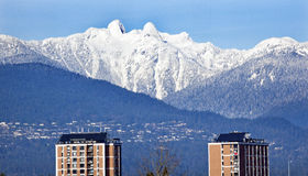 Vancouver Skyline Snowy Two Lions Mountains BC Stock Photography
