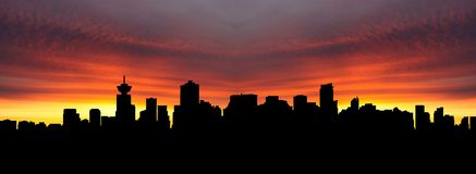 Vancouver-Skyline am Sonnenuntergang Lizenzfreies Stockbild