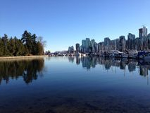 Vancouver skyline from Stanley Park. View of downtown Vancouver, Canada from Stanley Royalty Free Stock Photo