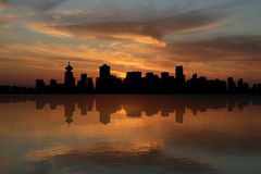 Vancouver skyline at sunset Royalty Free Stock Photos