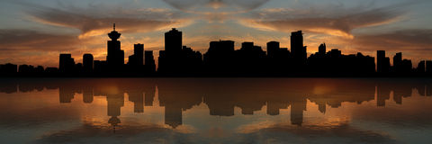 Vancouver skyline at sunset. Reflected in water illustration Stock Image