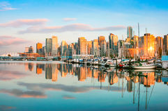 Vancouver skyline at sunset, BC, Canada royalty free stock photos