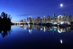 Vancouver Skyline Twilight Royalty Free Stock Images